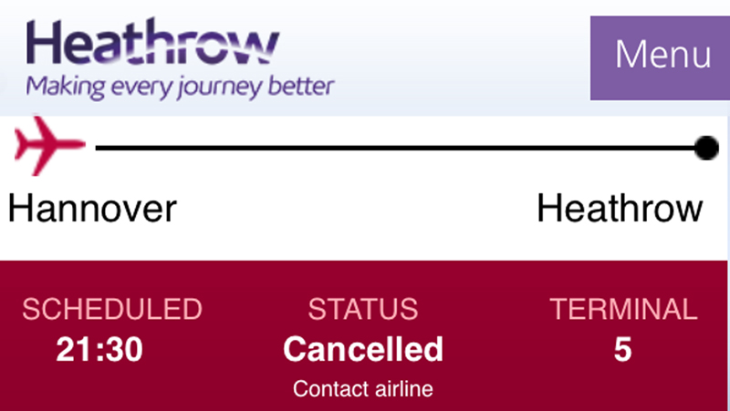 flight cancellation british airways