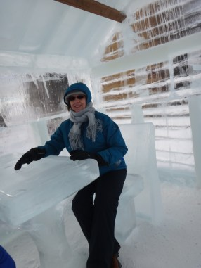Nonnie in an ice cabin