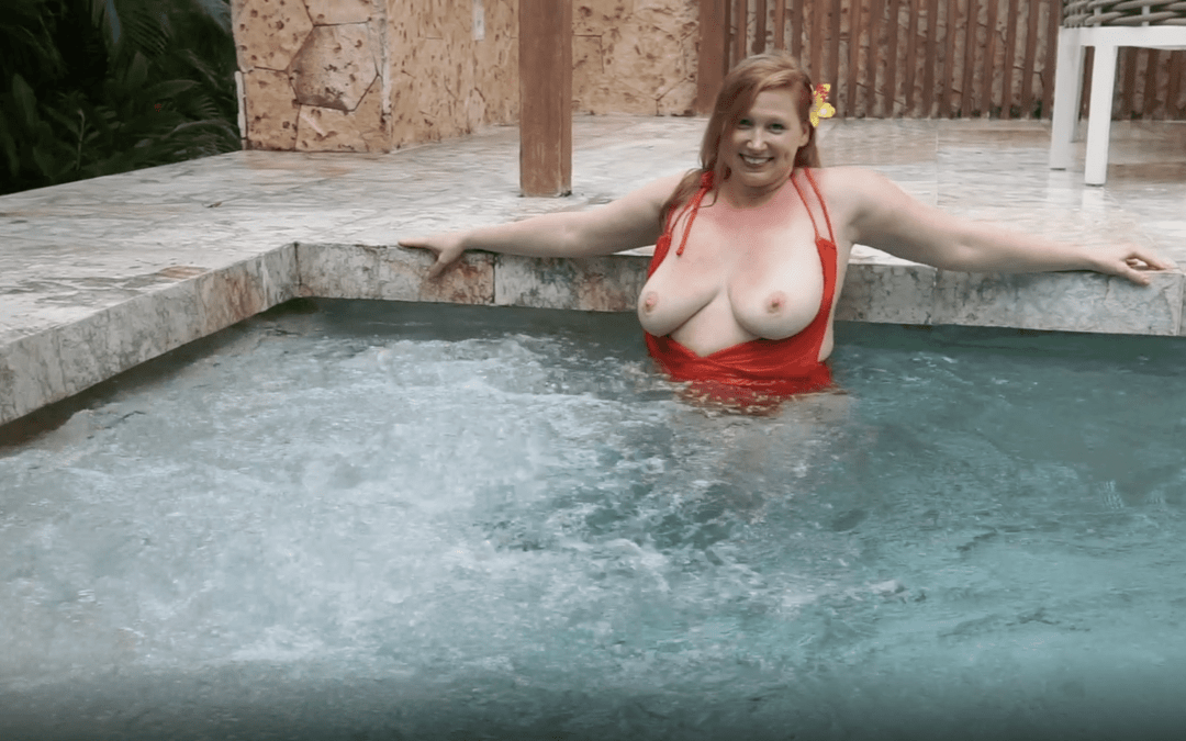 July 2021   Red-Orange Swimsuit in Swimming Pool