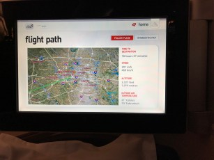 Qantas A380 first class moving map