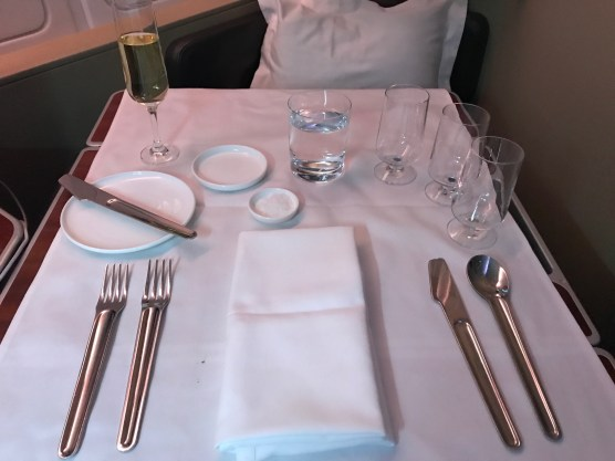 Qantas A380 first class table settings