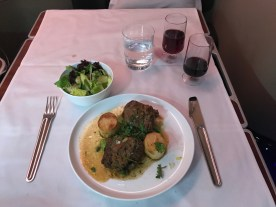 Qantas A380 first class braised lamb