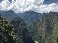 View down the valley at Machu Picchu