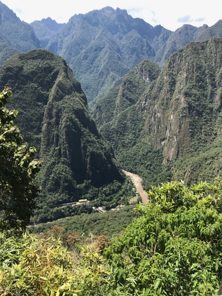 View down to the valley from Machu Picchu