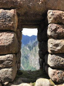 View from a window of a house at Machu Picchu