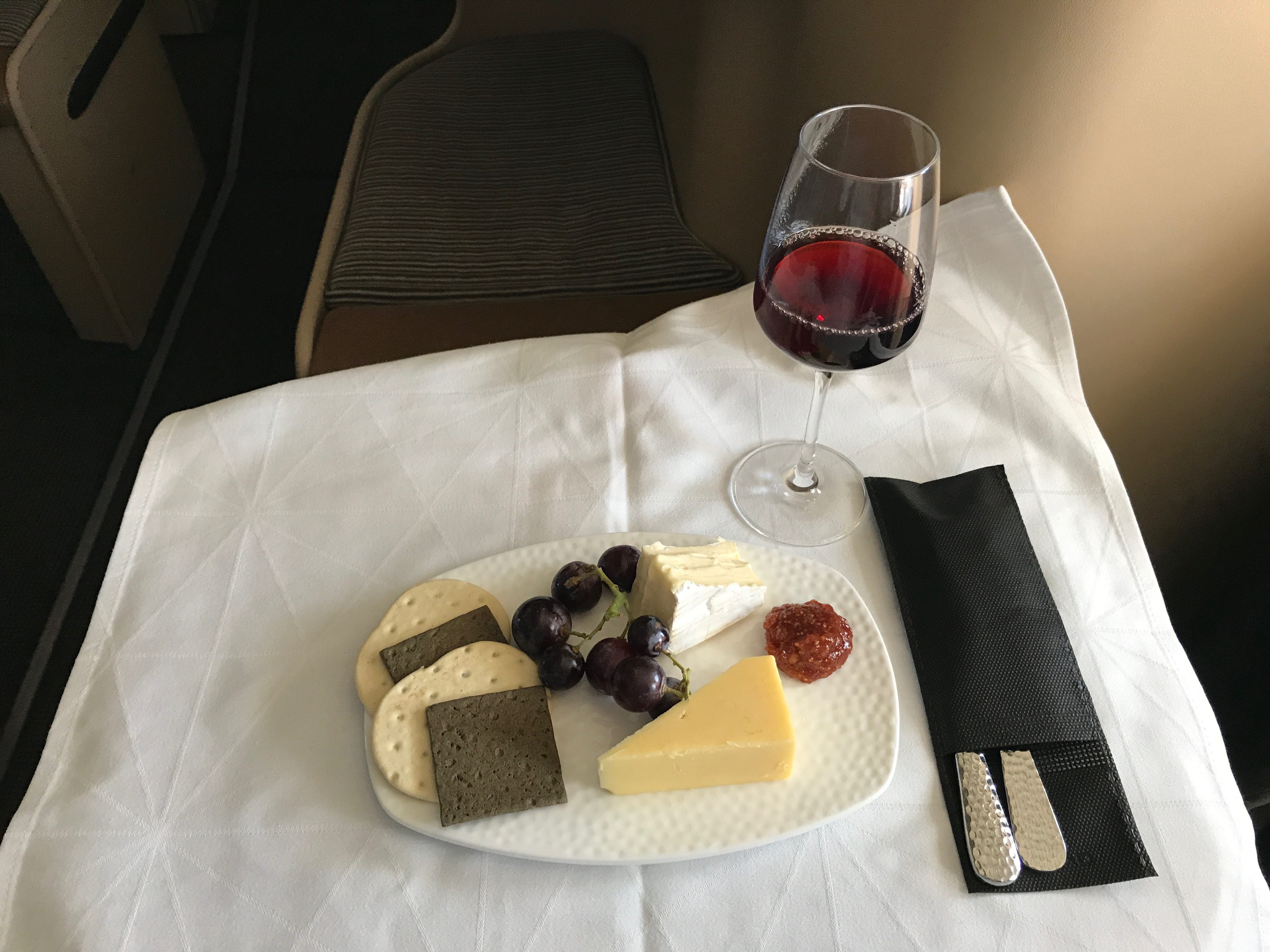 Etihad business class cheese course