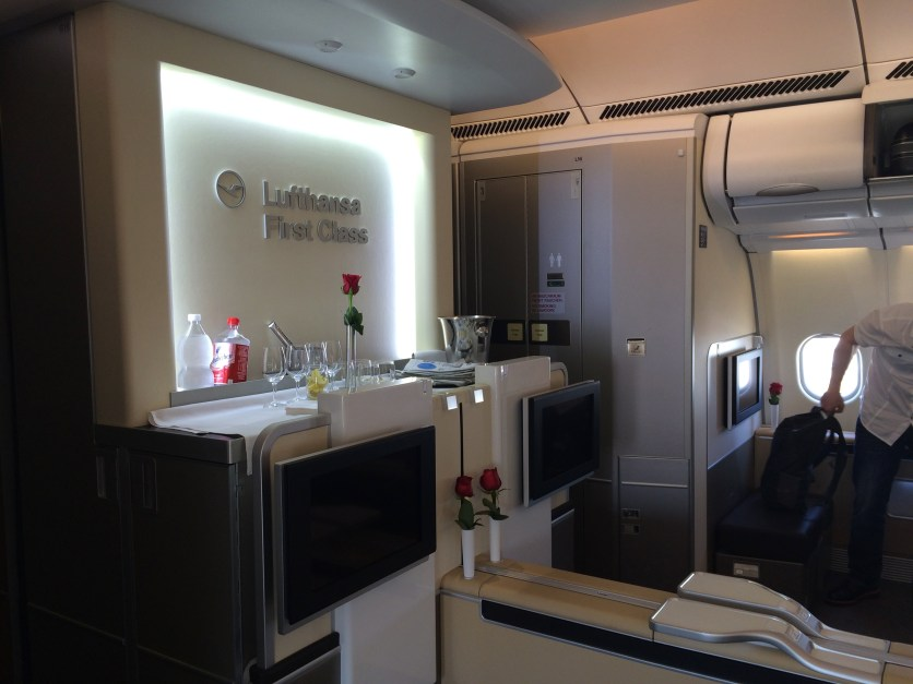 Forward view of the Lufthansa first class cabin