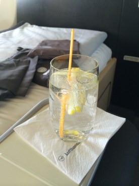 Lufthansa First Class gin and tonic