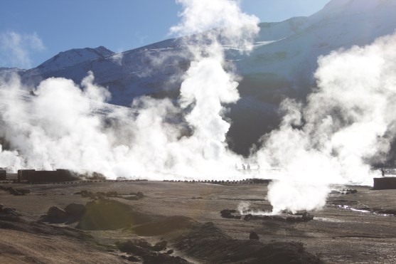 Sunlight through the steam clouds at the Tatio Geysers