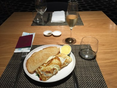 Egg white omelette at the Qantas First Class lounge LAX