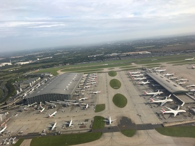 View of Heathrow Terminal 5 on takeoff from 27L