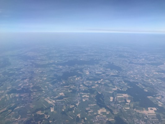 View from a Swiss A320 over Europe
