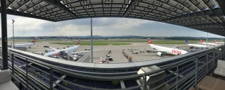 Swiss First Class Lounge at Zurich panorama