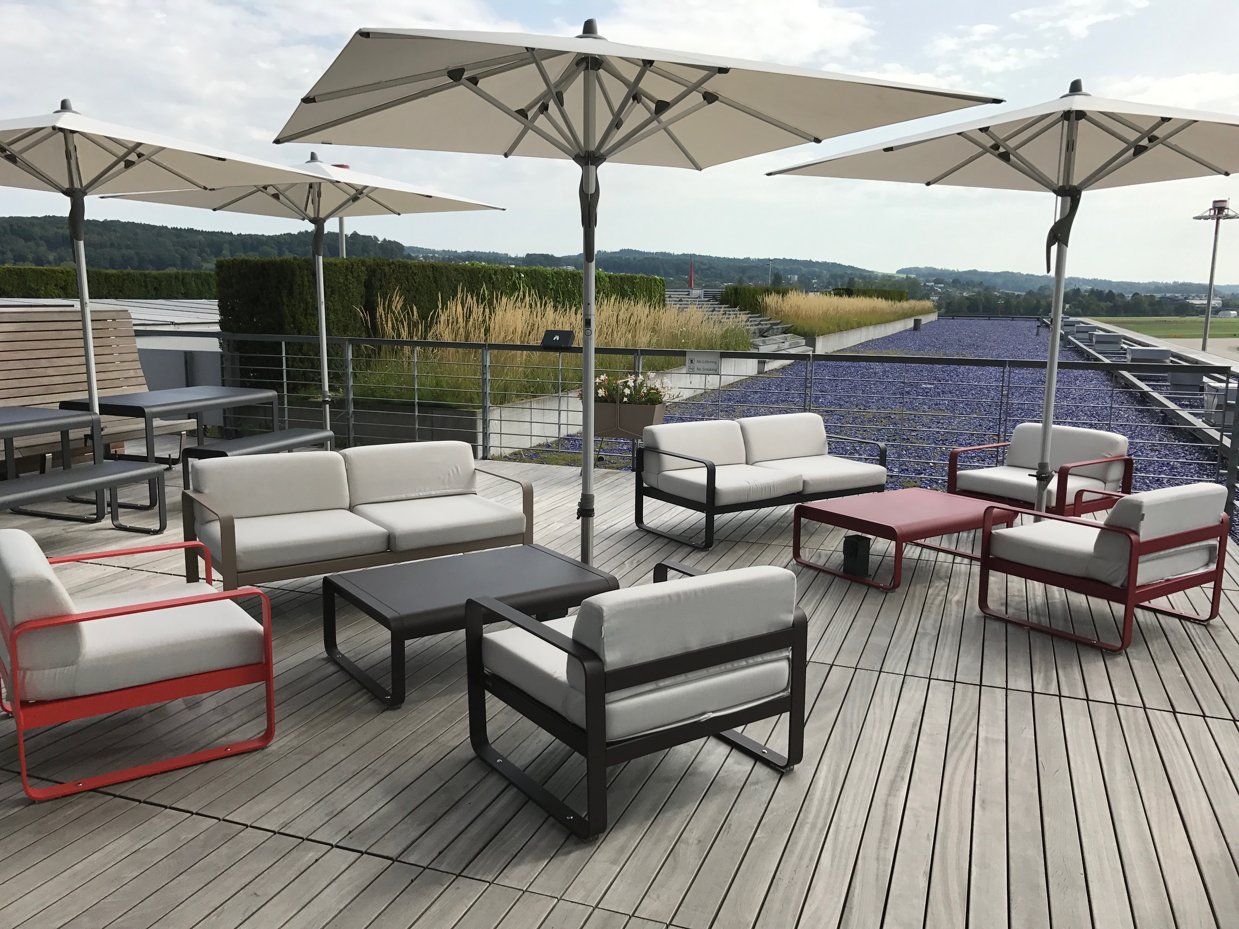 Swiss First Class Lounge at Zurich outside terrace area