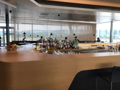 Swiss First Class Lounge at Zurich bar with spirits selection