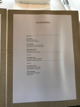 Swiss First Class Lounge at Zurich wine list