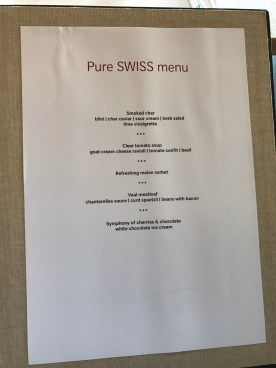 Swiss First Class Lounge at Zurich pure Swiss menu