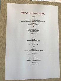 Swiss First Class Lounge at Zurich wine and dine menu