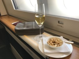 Swiss 777-300 first class champagne and amenity kit