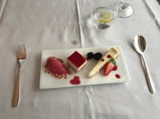 Selection of desserts in Swiss first class