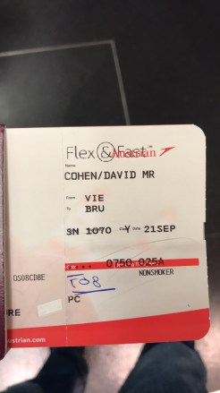 Austrian Airlines boarding pass on charter flight SN1070