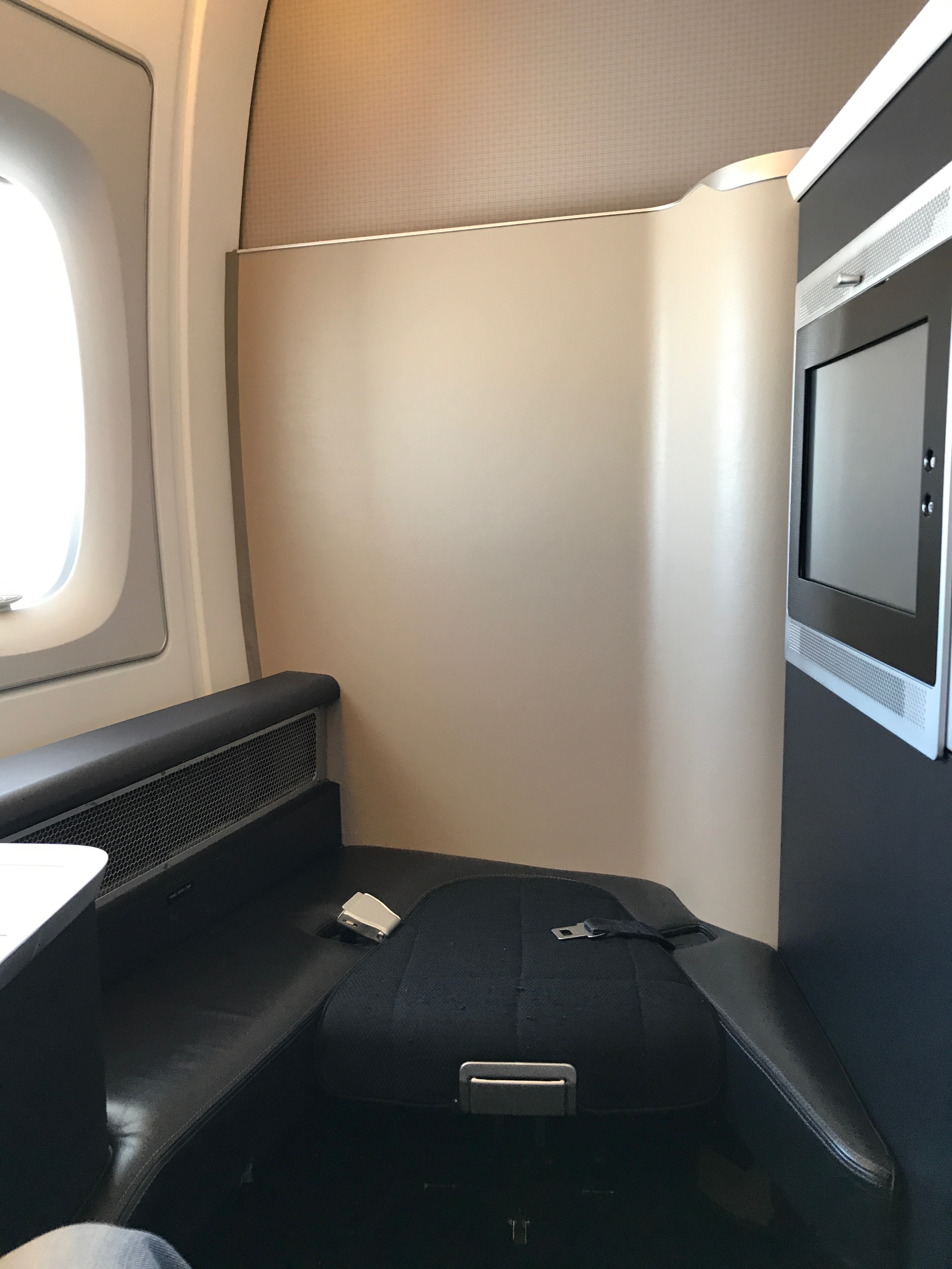 British Airways A380 first class seat looking forwards