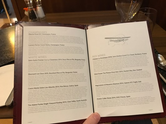 British Airways Concorde Room Wine list