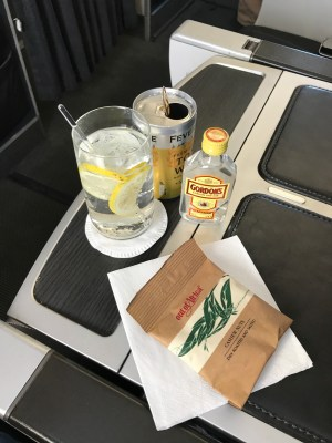 British Airways Club Europe Gin and Tonic with nuts