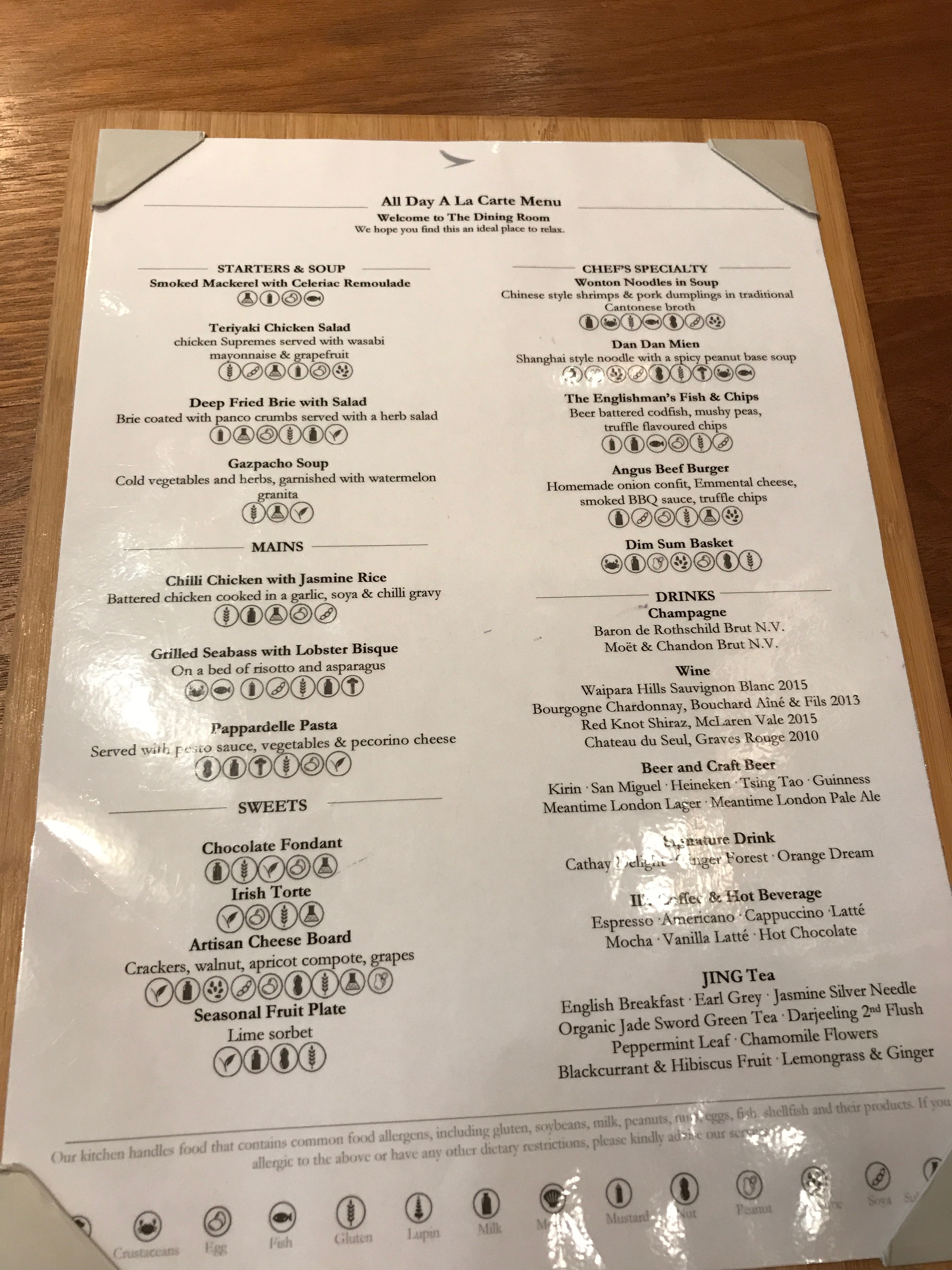 Cathay Pacific food and drink menu at the Heathrow terminal 3 first class lounge