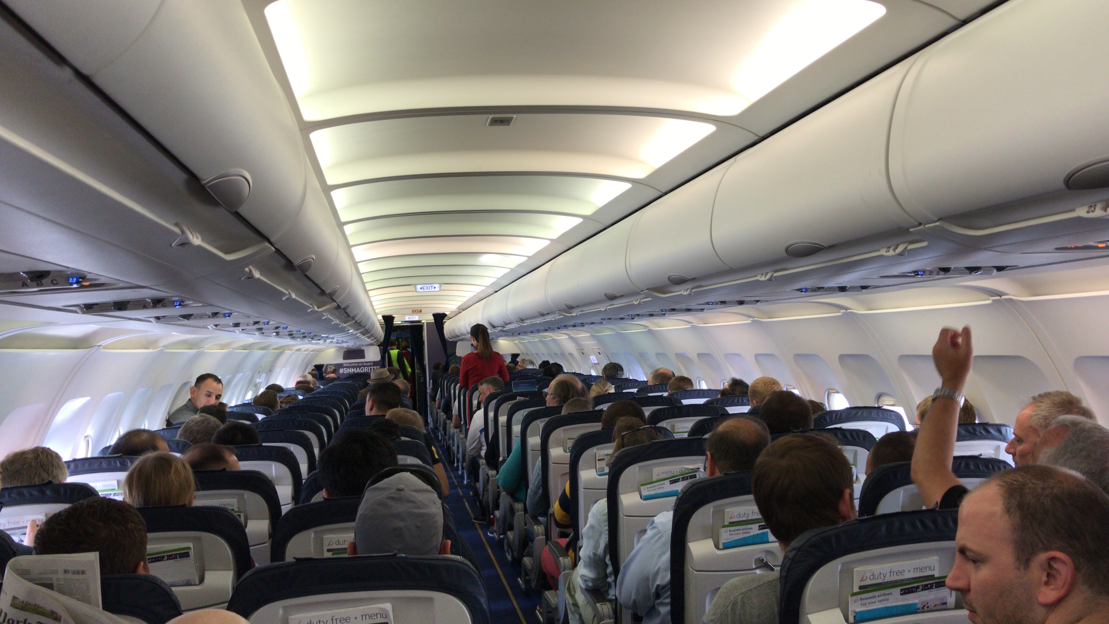 Interior of a Brussels airlines A320 in flight