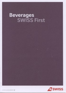 Swiss first class drinks menu