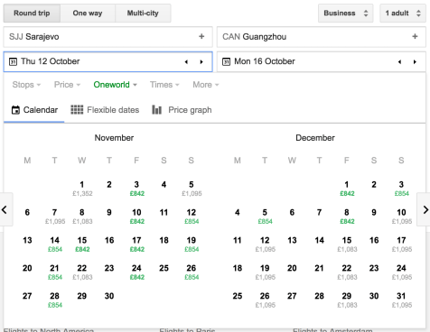 Low fare finder on Google Flights showing SJJ to CAN