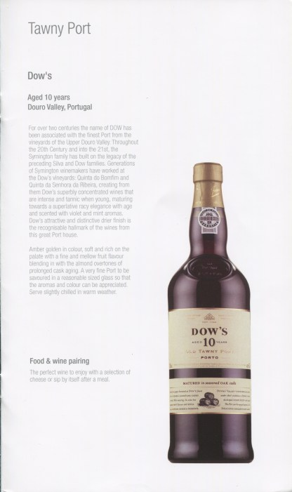 Qatar Airways Business Class Wine list port