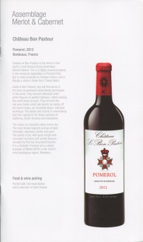Qatar Airways Business Class Wine list Bordeaux