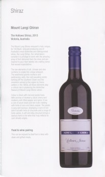 Qatar Airways Business Class Wine list shiraz