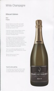 Qatar Airways Business Class Wine list brut champagne