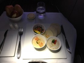 Qatar Airways A350 business class Haneda to Doha mezze platter