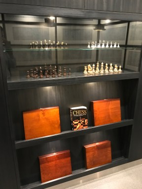chess sets in the JAL red suite Haneda