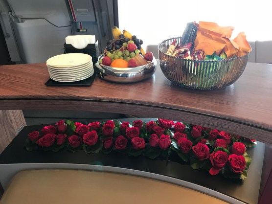 Qatar Airways A380 bar with fruit and snacks