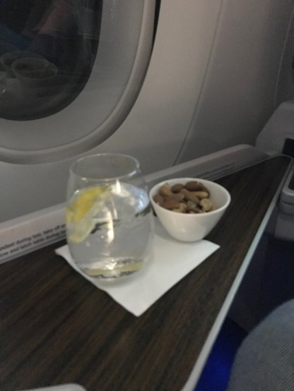 Qatar Airways A350 business class gin and tonic