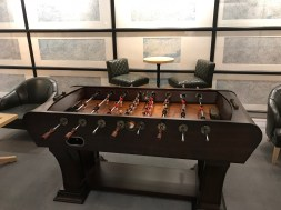 table football in the JAL red suite Haneda