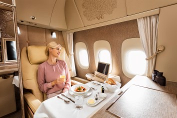 Emirates new B777 first class suite dining