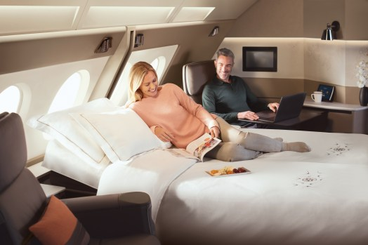 Singapore Airlines new A380 suites double bed