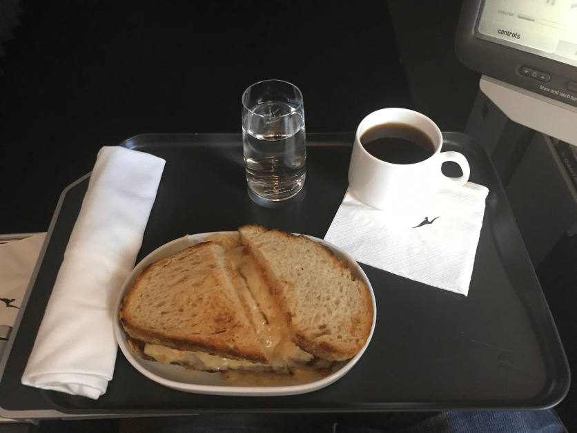 Qantas Premium Economy second meal sandwich