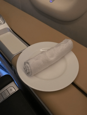 Lufthansa First Class hot towel