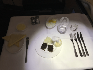 Lufthansa First Class caviar portion with vodka