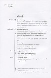 Singapore Airlines Business Class menu lunch