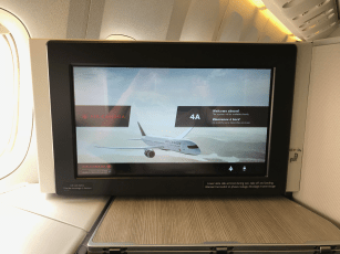 Air Canada business class screen