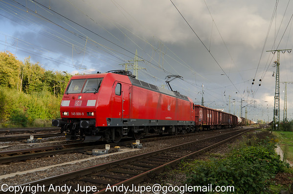 Adtranz (now Bombardier) TRAXX F140 AC number 145 008-9 departs from Köln Gremburg yard with a mixed freight on the evening of the 10th of October 2013