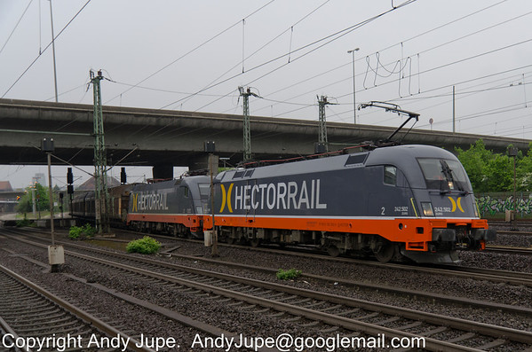 Siemens ES 64 U2 numbers 182 502-5 & 182 517- 3 owned by Hector Rail pass south through Hamburg Harburg, Germany on Monday the 20th of May 2013 whilst operating train number DSG 45685 from Malmö Godsban to Dortmund-Scharnhorst